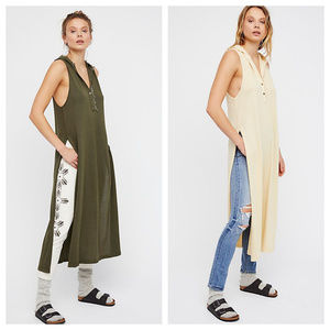 Free People Raw Hem Maxi Raw Tunic Top Dress m